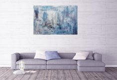 Cold breath – blue, silver and white abstract painting Multi Canvas Painting, Blue And Silver, Blue And White, Abstract Styles, Shades Of Blue, Breathe, Texture Paste, Cold, Throw Pillows