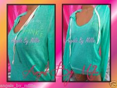 New Victoria's Secret Pink L Mint Green Lightweight Scoopneck Hoodie sweat Shirt | eBay
