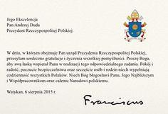 Papież Franciszek gratuluje nowemu prezydentowi RP