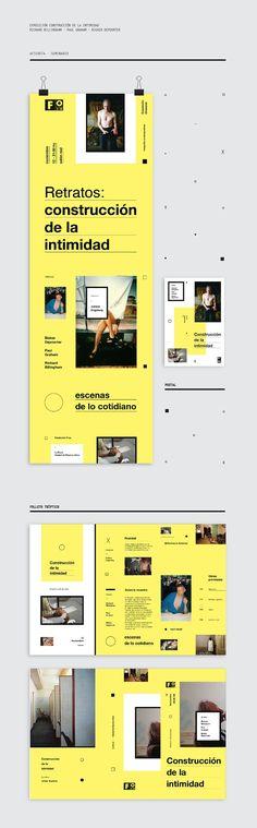 EXPOSICIÓN - Construcción de la intimidad Web Design Examples, Graphic Design Layouts, Book Design Layout, Print Layout, Modern Graphic Design, Editorial Layout, Editorial Design, Folders, Leaflet Design