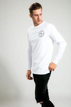 WHITE/BLACK O C LONG SLEEVE TEE Long Sleeve Tees, Sleeves, Mens Tops, T Shirt, Black, Fashion, Supreme T Shirt, Moda, Tee Shirt