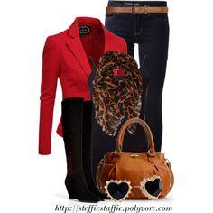 """Suede Boots, Red Blazer & Leopard Scarf"" by steffiestaffie on Polyvore"
