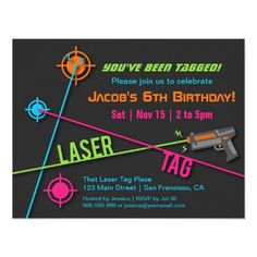 Colourful Neon Boys Laser Tag Birthday Party 4.25x5.5 Paper Invitation Card