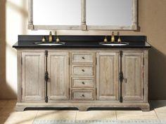 Rustic Bathrooms Farmhouse Vanity 72 Inch Driftwood Grey Double Sink