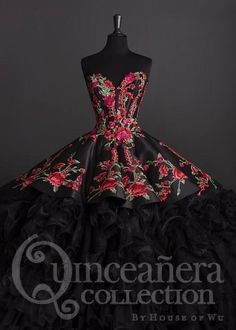 Charro Quinceanera Dress by House of Wu 26892 Rose Charro Quinceanera Dress by House of Wu of Wu-ABC Fashion Xv Dresses, Quince Dresses, Ball Gown Dresses, Fashion Dresses, Gown Skirt, Fashion Fashion, Mexican Quinceanera Dresses, Mexican Dresses, Quinceanera Party