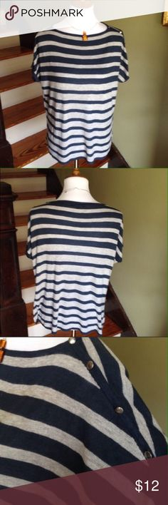 GAP short sleeve sweater Gap short sleeve stripped sweater. Super comfy!  Decorative Button detail on left shoulder / sleeve. Gray and navy. 100% rayon. Excellent condition. Shoulder to hem 23 inches. GAP Sweaters Crew & Scoop Necks