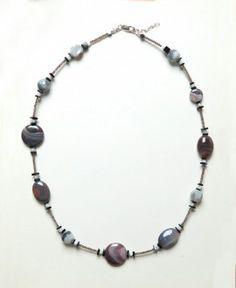Collier Agate, Cornaline, Onyx et Argent Bijoux Agate, Beaded Necklace, Jewelry, Smoky Quartz, Carnelian, Mother Of Pearls, Money, Bead
