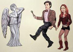 11th Doctor Who Matt Smith Amy Pond and Weeping by ArdentlyCrafted