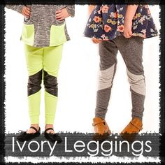 From B Side Patterns Vol. One, the Ivory Leggings Pattern is a multi style leggings pattern. Make a plain pair for everyday style or mix it up with a motto patched leg. The leggings are high waiste. Long Pants, Sewing For Kids, Leggings Fashion, Tween, Everyday Fashion, My Girl, Harem Pants, Kids Outfits, Sewing Patterns