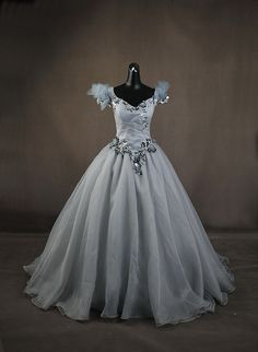 Once Upon A Time Emma Dream Sequence Silver Ball Gown Dress Cosplay Costume
