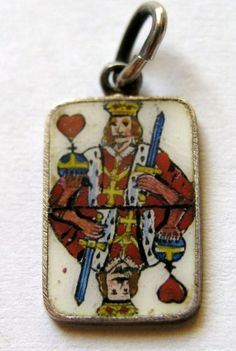 Vintage German Silver & Enamel Playing Card King of Hearts Charm