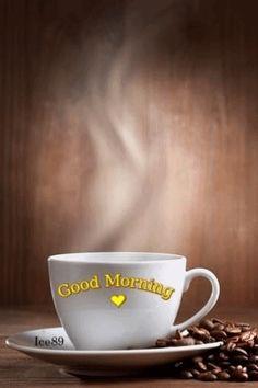 Good Morning Steaming Cup Of Coffee Coffee Gif, I Love Coffee, Coffee Humor, Coffee Break, My Coffee, Coffee Cups, Coffee Maker, Good Morning World, Good Morning Coffee
