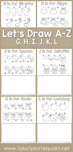 Drawing Tutorial Printables ~ Draw an Ant, Butterfly, Cat, Dog, Elephant and Fish! Drawing Tutorials For Kids, Drawing For Kids, You Draw, Learn To Draw, Teach Kids To Draw, Learning To Draw For Kids, Learning Tools, Learning Resources, Alphabet Activities