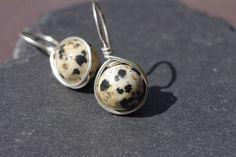 Dalmatian Jasper Earrings, Sterling Silver Earrings Stiff Drop Earrings Silver Threader Earrings Dalmatian Jasper Rounds Black White Earring by BaileyBespoke on Etsy
