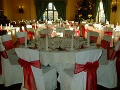 Ivory Covers with Red Organza Sashes - Christmas Theme Wedding.