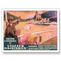 Vintage Budapest Hungary Travel Poster Art Postcard from Zazzle.com