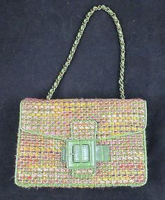 The Limited Tweed Purse Sage Pink Orange Cranberry Clutch Style 6 1/2 x 9 1/2
