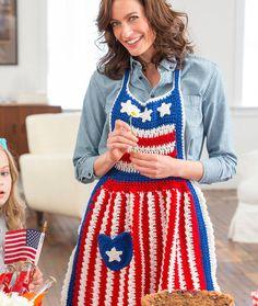 Betsy Ross Patriotic Apron Free Crochet Pattern in Red Heart Yarns