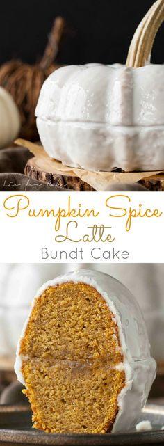 Pumpkin Spice Latte Bundt Cake. Your favourite Fall beverage in a cake! Pumpkin & coffee flavoured cake with a milk & sugar glaze. | livforcake.com