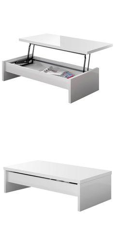 Mesa de centro elevable Clean en MDF lacado blanco y tapa extensible | 210.00€