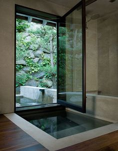 Stunning japanese soaking tub for looking out at the lovely vista and smelling the fresh air! Japanese soaking tubs How To Add Japanese Style To Your Home Japanese Bathtub, Japanese Soaking Tubs, Japanese Spa, Indoor Outdoor Bathroom, Outdoor Pool, Outdoor Showers, Outdoor Ideas, Dream Bathrooms, Beautiful Bathrooms