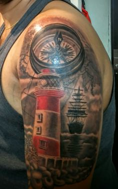 Light house compass tattoo