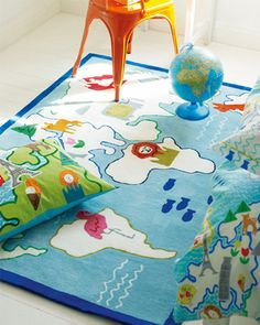 World map rug for a child's room or playroom