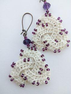Crochet Earrings Chandelier Purple Earrings Long by DesignByIrenne