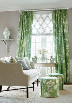 cute stools New Wallpaper Introductions: Thibaut Enchantment Collection My Living Room, Home And Living, Living Room Decor, Cottage Living, Interior Decorating, Interior Design, Design Art, Green Rooms, New Wallpaper