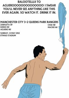 Aguero Celebration vs QPR Man City crowned by FootyIllustrations, £8.99