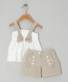 Loving this White Polka Dot Bow Top & Gray Shorts - Toddler & Girls on #zulily! #zulilyfinds