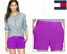 Why should boys have all the fun? Now get into the spirit of summer with these vivacious Tommy Hilfiger Women's Chino Shorts in a dazzling purple hue.   These shorts feature iconic Tommy styling for the modern woman who wants to be free and expressive. These shorts have been made from a lightweight cotton blended material that is perfect for summer.
