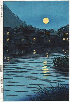 Rising Moon at Katase River, by Shiro Kasamatsu, 1953.
