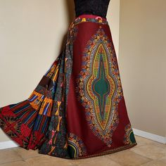 Must own now. omgaaaaaaaaaawww gorgeous! African Ruby Long African Patchwork Skirt by BarefootModiste