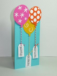birthday card idea.. just stamp Happy Birthday to tie to the balloon strings