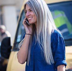 Sarah Harris, Vogue UK Fashion editor, and her amazing, grey locks