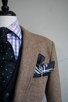 tweed blazer and navy