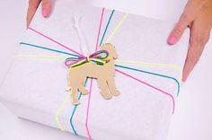 Gold dog gift tag