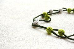 crochet bead long funky necklace in green and white  by XauXau, $21.00 #necklace #jewelry