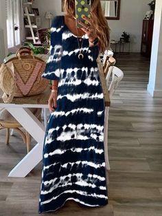 Justfashionnow Summer Dresses 1 Vintage Dresses Daily Swing V Neck Floral-Print Holiday Sleeveless Dresses Violet Rouge, Bleu Violet, Look Fashion, Daily Fashion, Fashion Styles, Dress Fashion, Womens Fashion, Fashion Trends, Orange Gris