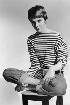 Jean Seberg in stripes and jeans.