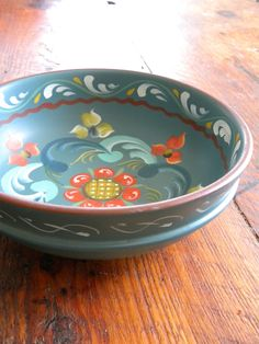 Lovely Blue Rosemaled  Wooden Norwegian Bowl