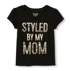 Place Shops Toddler Short Sleeve Glitter Leopard Print 'Styled By My Mom' Graphic Tee - Black T-Shirt - The Children's Place