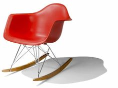 Eames rocking chair in red.