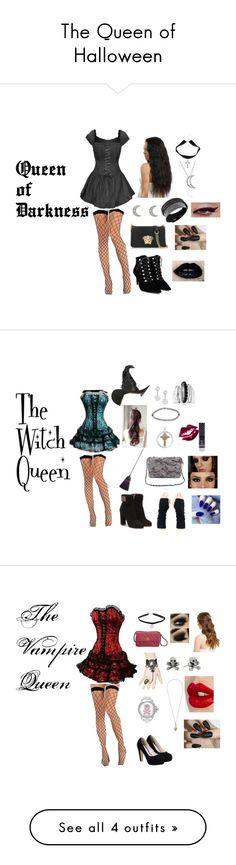 """The Queen of Halloween"" by sophia-ta on Polyvore featuring Balenciaga, Versace, Bling Jewelry, Finn, Swarovski, Boohoo, Torrid, Salvatore Ferragamo, Chanel and Catherine Stein"