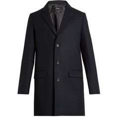 A.P.C. Luchino wool-blend overcoat (11 885 UAH) ❤ liked on Polyvore featuring men's fashion, men's clothing, men's outerwear, men's coats, navy, mens navy pea coat and mens wool blend coat