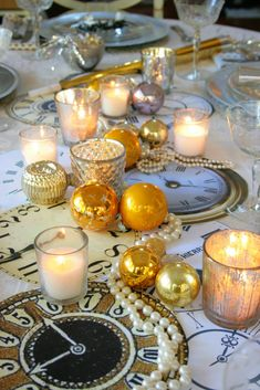 new year's eve table set with leopard plates, pearls and clocks.