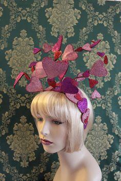 Sparkly Heart Headdress  - Wired Sparkling Leather Heart Headdress by Mascherina, $195.00