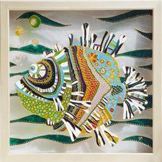 TROPICAL FISH  Hand Painted Decorative Art Minimal by YunikDesign, $200.00