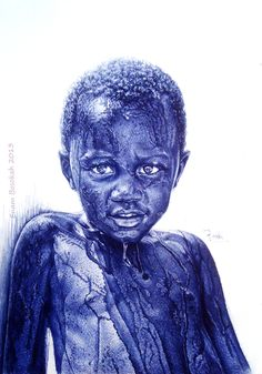 Incredible Photorealistic Ballpoint Pen Drawings by Enam Bosokah  Artist Enam Bosokah from Ghana, uses a blue ballpoint pen to create impressive portraits and drawings…